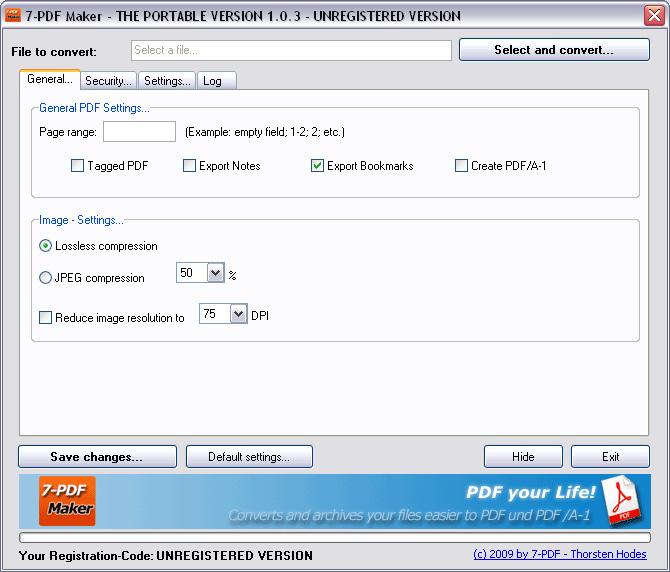 7-PDF Maker Portable full screenshot
