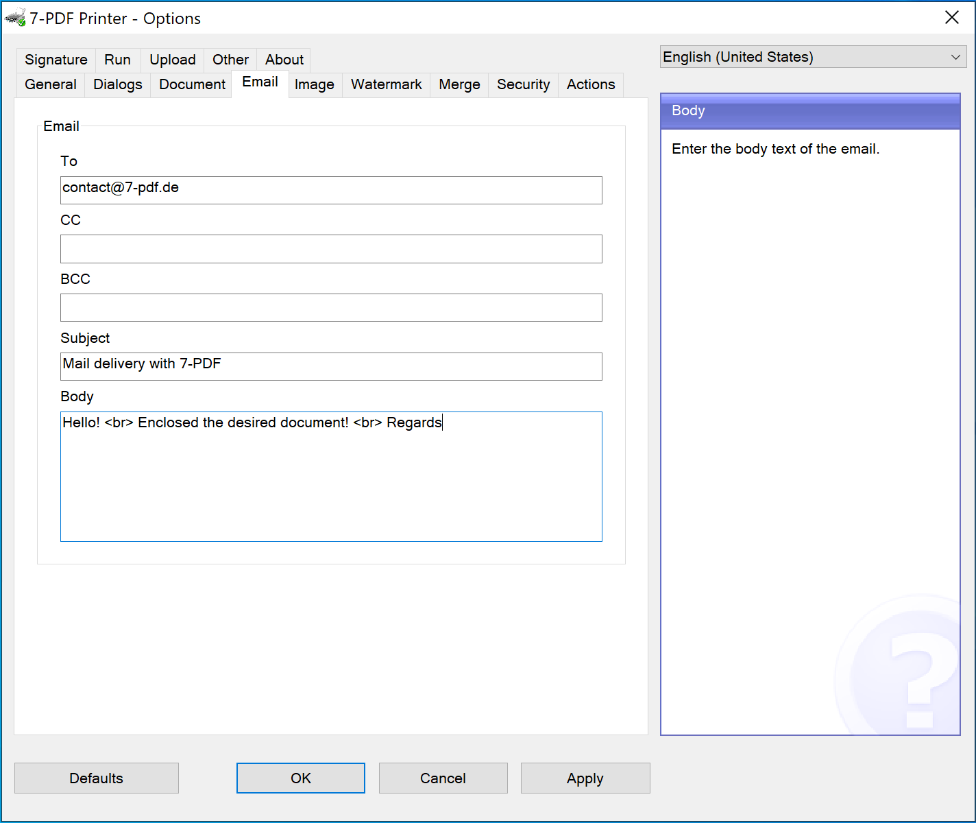 Fixed configuration mail dispatch in the options dialog of the PDF printer