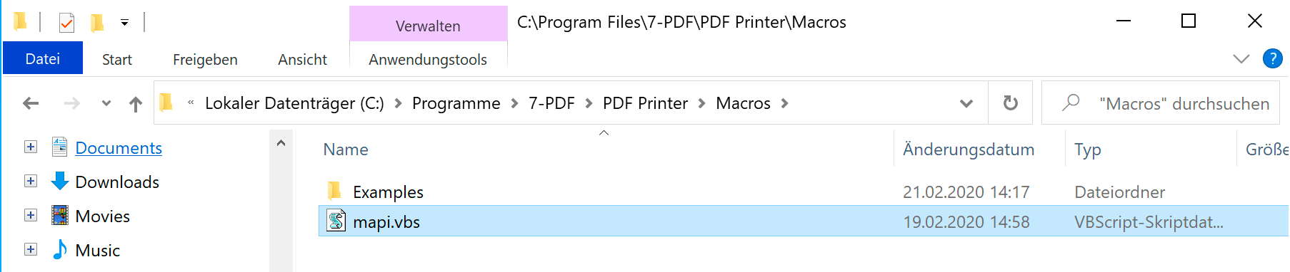 Macros directory of the PDF printer for addressing the event handler
