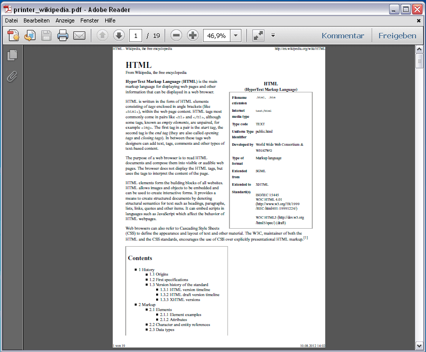 wikipedia.de generated with PDF printer