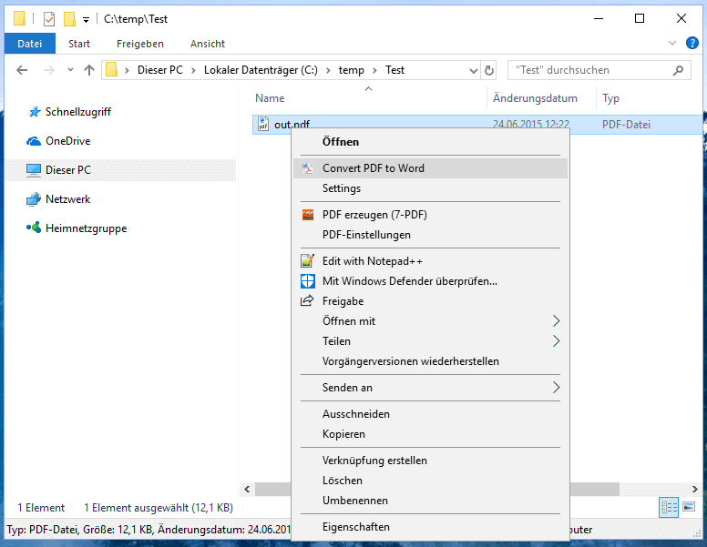 Convert PDF to Word directly in Windows Explorer
