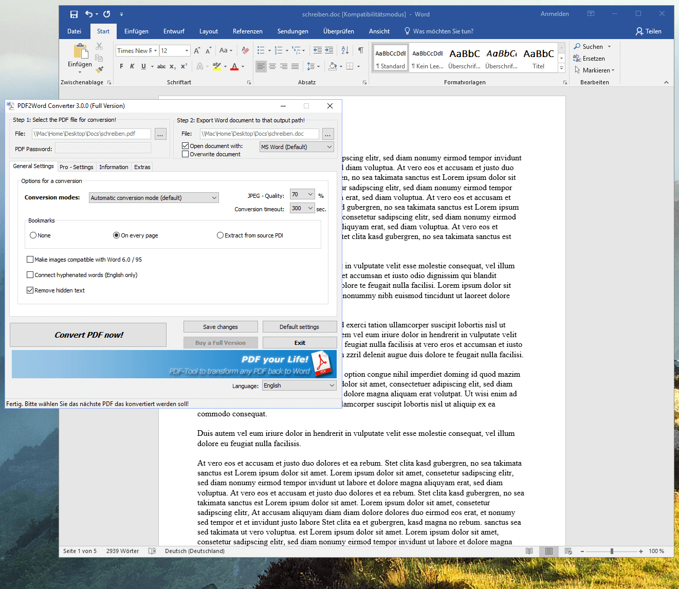 Edit PDF files for free with Word