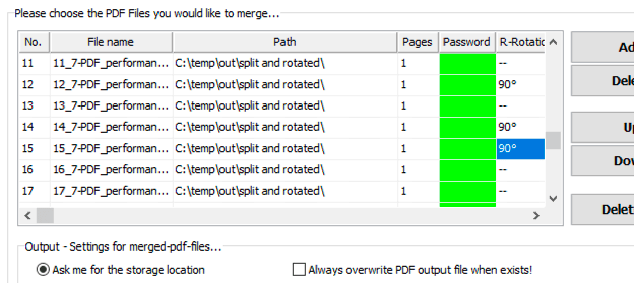 Rotate pages in a PDF when merging